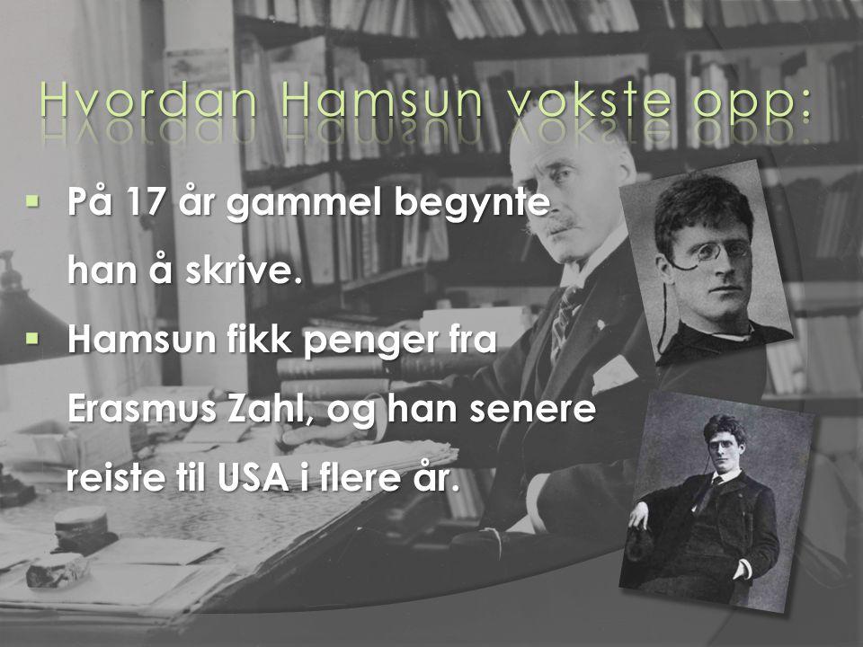  På 17 år gammel begynte han å skrive.  Hamsun fikk penger fra Erasmus Zahl, og han senere reiste til USA i flere år.