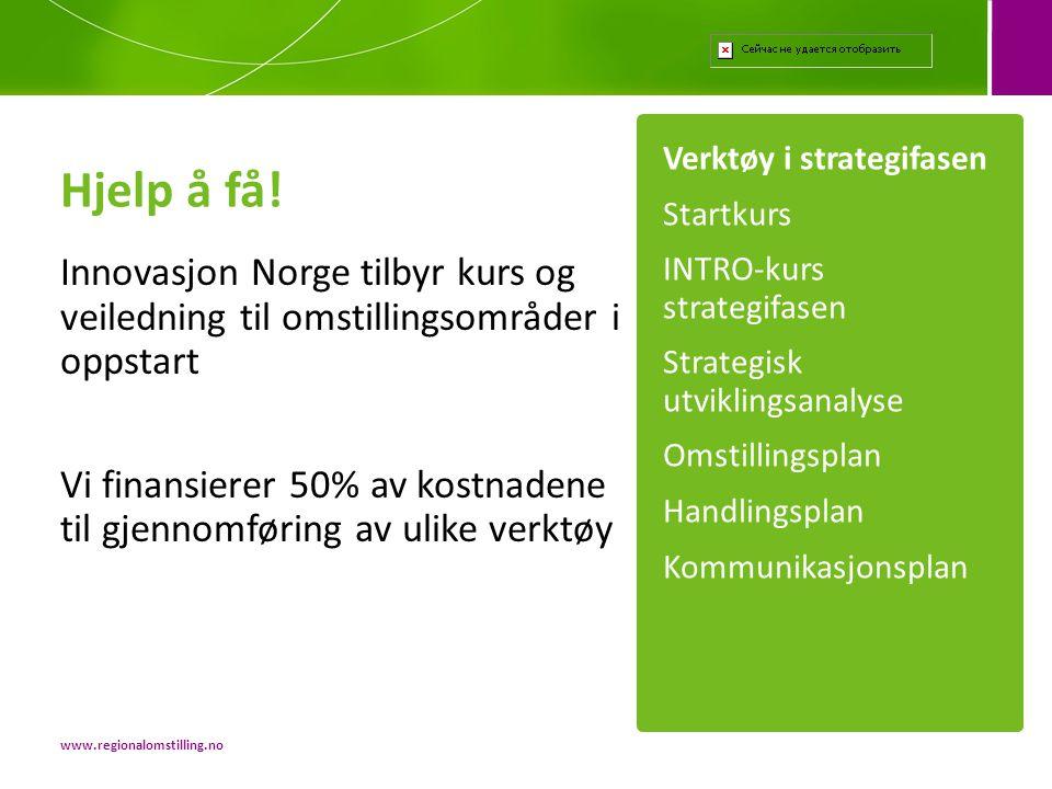 Hjelp å få! Innovasjon Norge tilbyr kurs og veiledning til omstillingsområder i oppstart Vi finansierer 50% av kostnadene til gjennomføring av ulike v