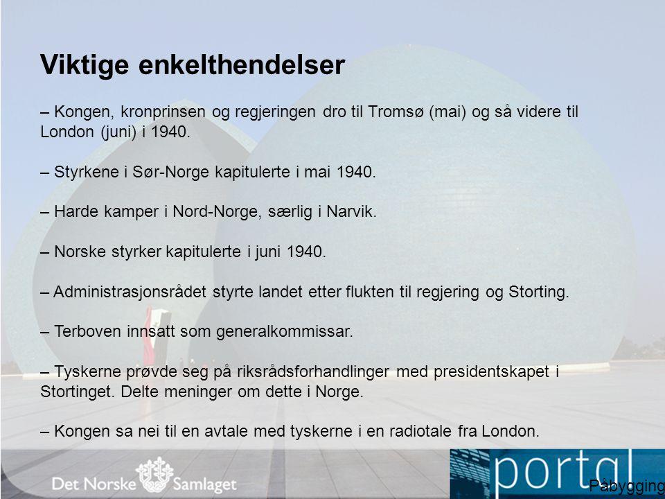 Viktige enkelthendelser – Kongen, kronprinsen og regjeringen dro til Tromsø (mai) og så videre til London (juni) i 1940. – Styrkene i Sør-Norge kapitu