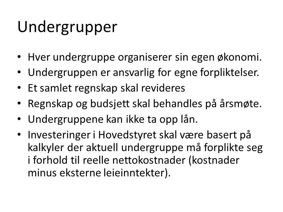 Undergrupper • Hver undergruppe organiserer sin egen økonomi.