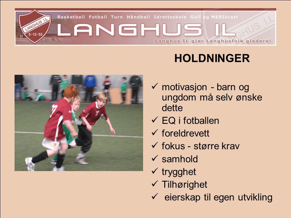 HOLDNINGER  motivasjon - barn og ungdom må selv ønske dette  EQ i fotballen  foreldrevett  fokus - større krav  samhold  trygghet  Tilhørighet