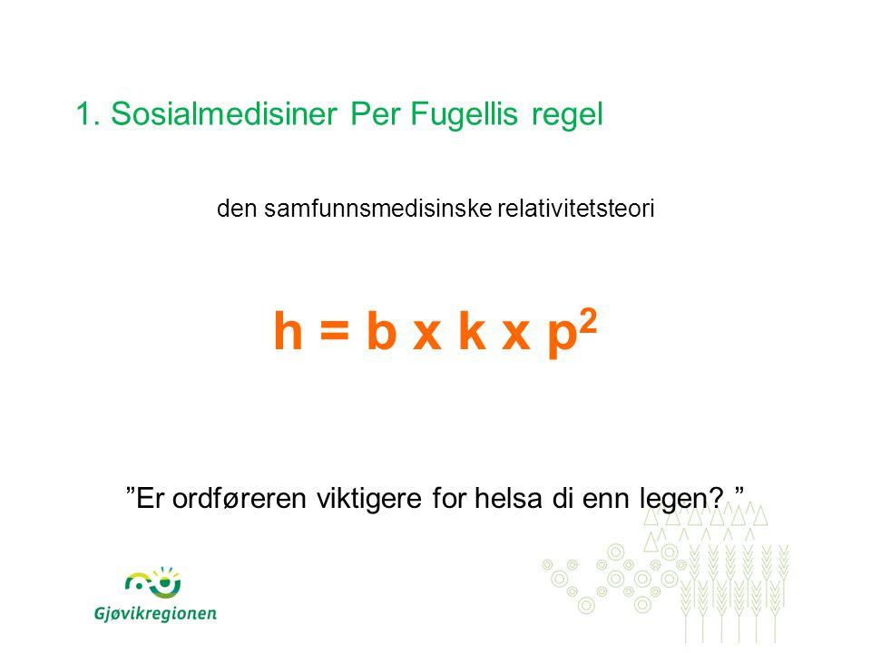 """1. Sosialmedisiner Per Fugellis regel den samfunnsmedisinske relativitetsteori h = b x k x p 2 """"Er ordføreren viktigere for helsa di enn legen? """""""