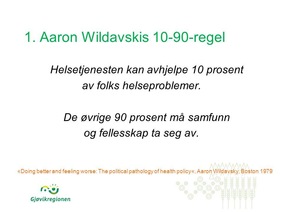1. Aaron Wildavskis 10-90-regel Helsetjenesten kan avhjelpe 10 prosent av folks helseproblemer. De øvrige 90 prosent må samfunn og fellesskap ta seg a
