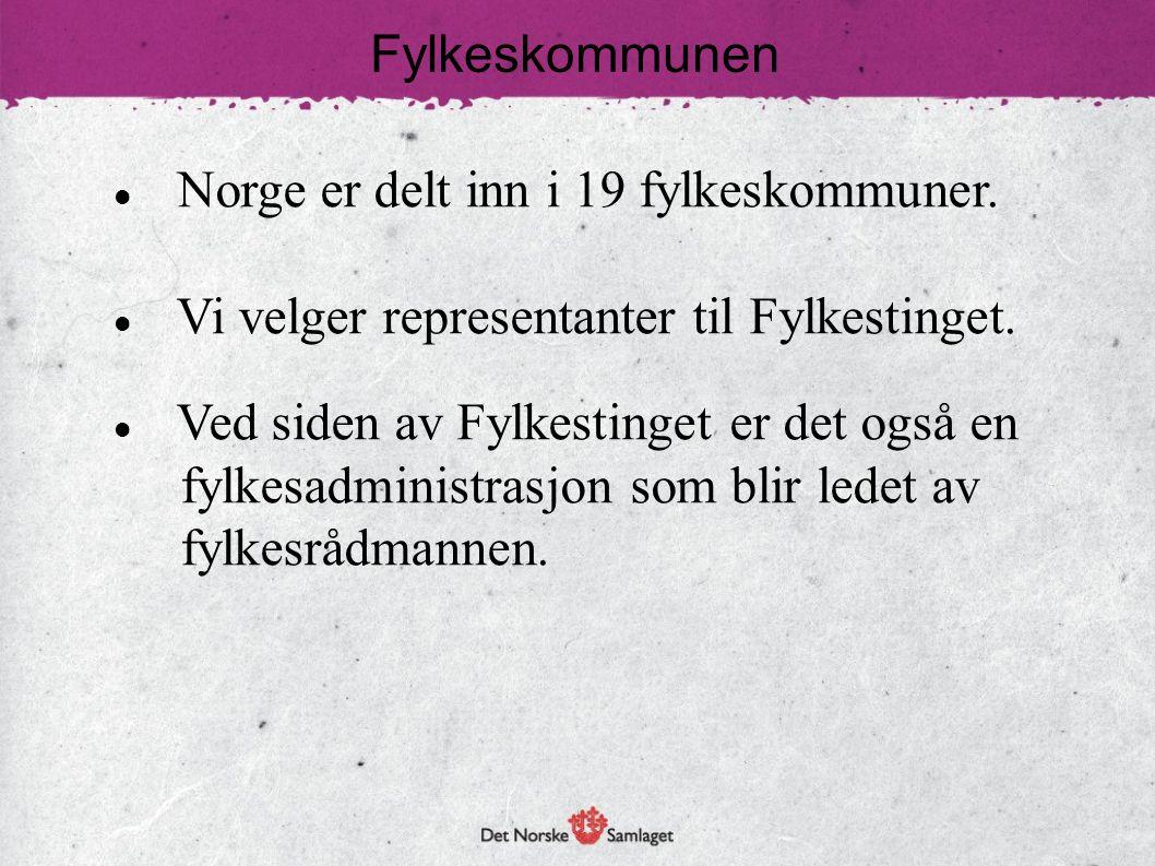Fylkeskommunen  Norge er delt inn i 19 fylkeskommuner.  Vi velger representanter til Fylkestinget.  Ved siden av Fylkestinget er det også en fylkes