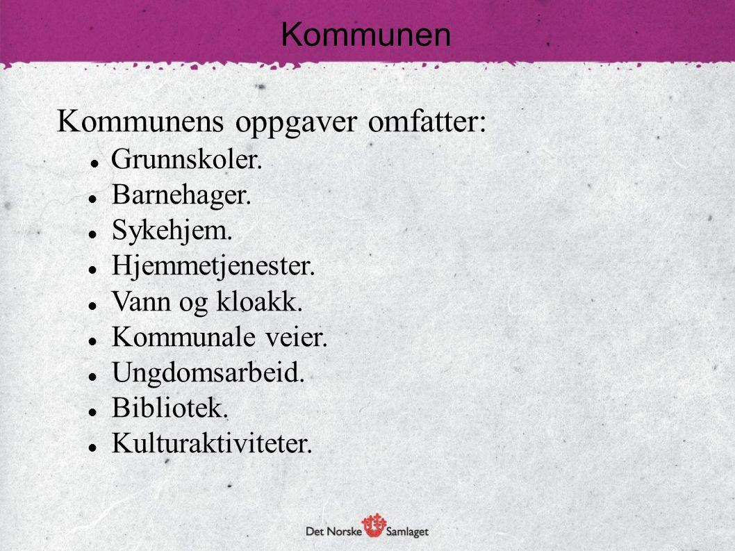 Kommunen Kommunens oppgaver omfatter:  Grunnskoler.  Barnehager.  Sykehjem.  Hjemmetjenester.  Vann og kloakk.  Kommunale veier.  Ungdomsarbeid
