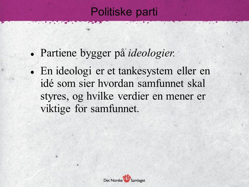 Politiske parti  Partiene bygger på ideologier.  En ideologi er et tankesystem eller en idé som sier hvordan samfunnet skal styres, og hvilke verdie
