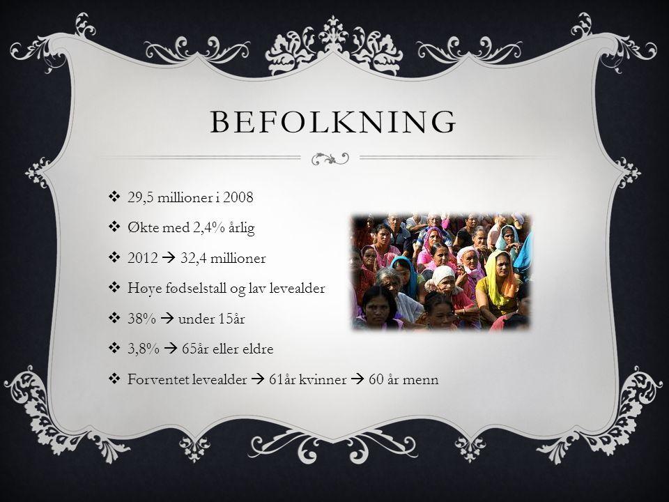 BEFOLKNING  29,5 millioner i 2008  Økte med 2,4% årlig  2012  32,4 millioner  Høye fødselstall og lav levealder  38%  under 15år  3,8%  65år