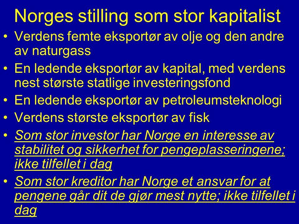 Norges stilling som stor kapitalist •Verdens femte eksportør av olje og den andre av naturgass •En ledende eksportør av kapital, med verdens nest stør
