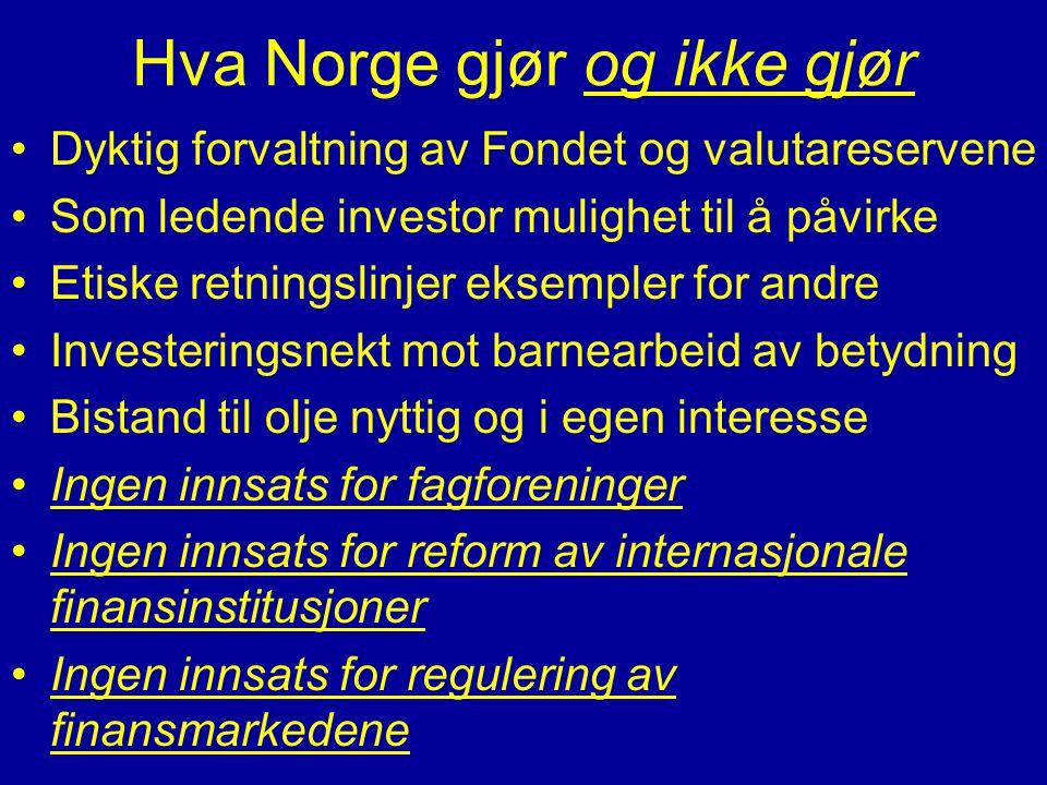 Hva Norge gjør og ikke gjør •Dyktig forvaltning av Fondet og valutareservene •Som ledende investor mulighet til å påvirke •Etiske retningslinjer eksem