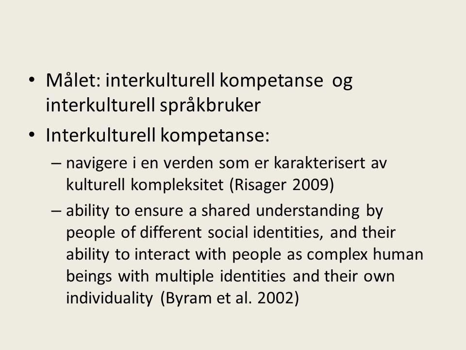 • Målet: interkulturell kompetanse og interkulturell språkbruker • Interkulturell kompetanse: – navigere i en verden som er karakterisert av kulturell