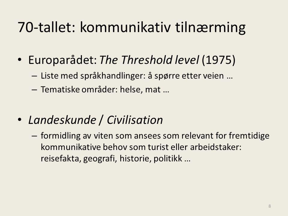 70-tallet: kommunikativ tilnærming • Europarådet: The Threshold level (1975) – Liste med språkhandlinger: å spørre etter veien … – Tematiske områder: