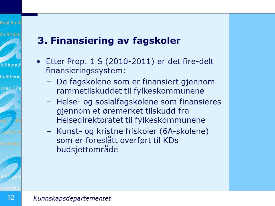 12 Kunnskapsdepartementet 3. Finansiering av fagskoler •Etter Prop. 1 S (2010-2011) er det fire-delt finansieringssystem: –De fagskolene som er finans