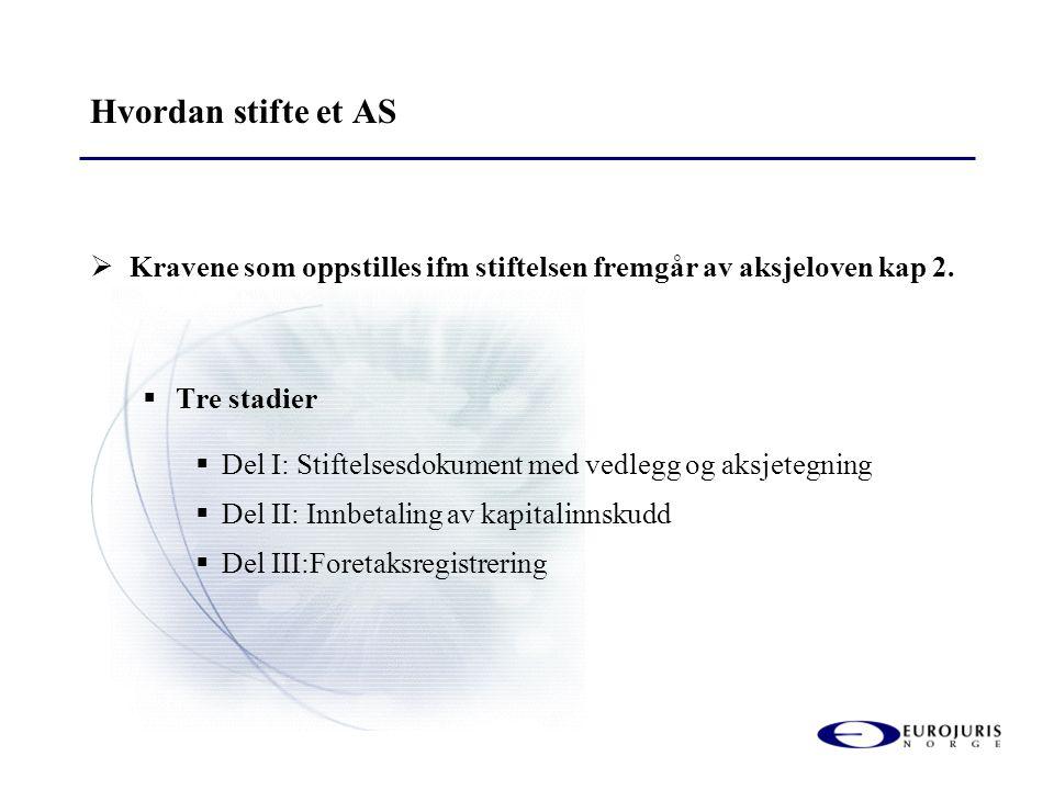 Hvordan stifte et AS  Kravene som oppstilles ifm stiftelsen fremgår av aksjeloven kap 2.  Tre stadier  Del I: Stiftelsesdokument med vedlegg og aks
