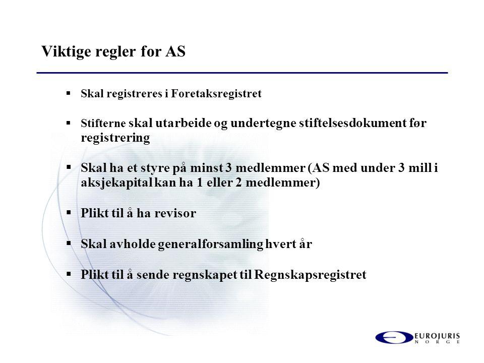 Viktige regler for AS  Skal registreres i Foretaksregistret  Stifterne skal utarbeide og undertegne stiftelsesdokument før registrering  Skal ha et