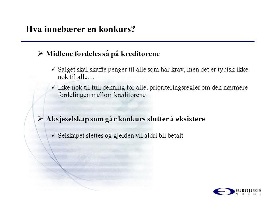 Hva innebærer en konkurs?  Midlene fordeles så på kreditorene  Salget skal skaffe penger til alle som har krav, men det er typisk ikke nok til alle…