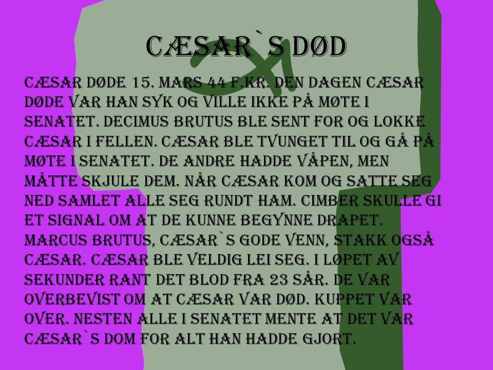 Cæsar i Egypt Cæsar kom først til Egypt i 48 f.Kr. Han sa at kongen i Egypt skylte han penger. Derfor ba han sønnen til Ptolemaios 12. som nå var død,