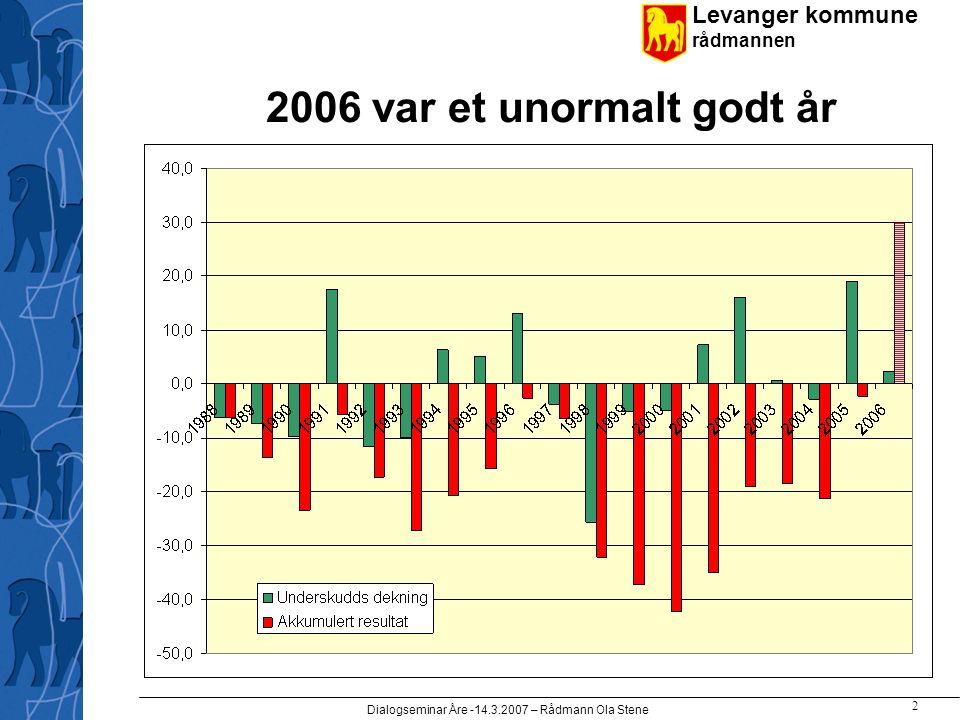 Levanger kommune rådmannen Dialogseminar Åre -14.3.2007 – Rådmann Ola Stene 2 2006 var et unormalt godt år