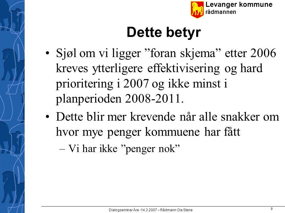 Levanger kommune rådmannen Dialogseminar Åre -14.3.2007 – Rådmann Ola Stene 9 Dette betyr •Sjøl om vi ligger foran skjema etter 2006 kreves ytterligere effektivisering og hard prioritering i 2007 og ikke minst i planperioden 2008-2011.