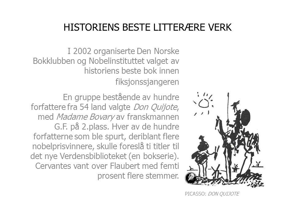 I 2002 organiserte Den Norske Bokklubben og Nobelinstituttet valget av historiens beste bok innen fiksjonssjangeren En gruppe bestående av hundre forfattere fra 54 land valgte Don Quijote, med Madame Bovary av franskmannen G.F.