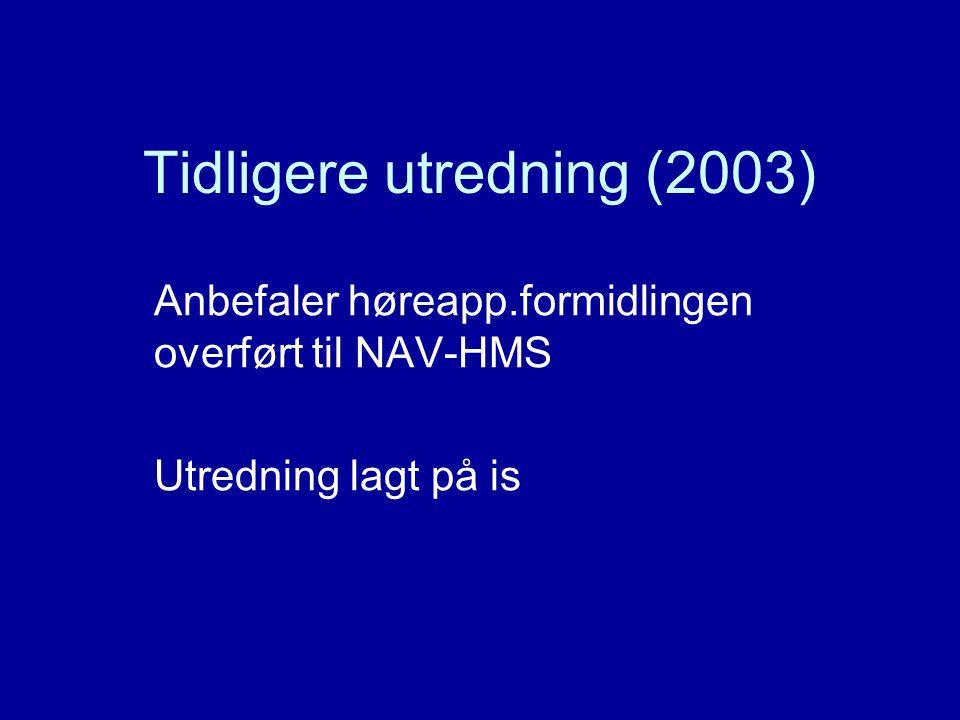 Tidligere utredning (2003) Anbefaler høreapp.formidlingen overført til NAV-HMS Utredning lagt på is