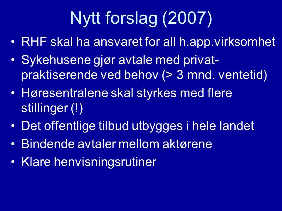 Nytt forslag (2007) •RHF skal ha ansvaret for all h.app.virksomhet •Sykehusene gjør avtale med privat- praktiserende ved behov (> 3 mnd.