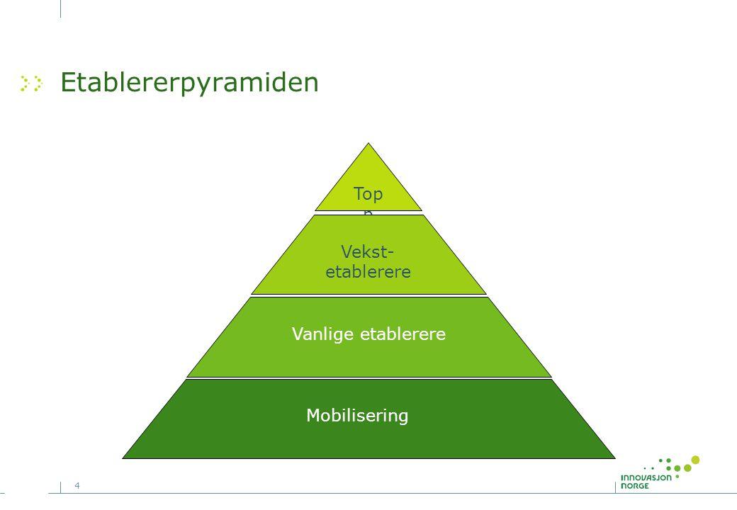 4 Etablererpyramiden Top p Vekst- etablerere Vanlige etablerere Mobilisering