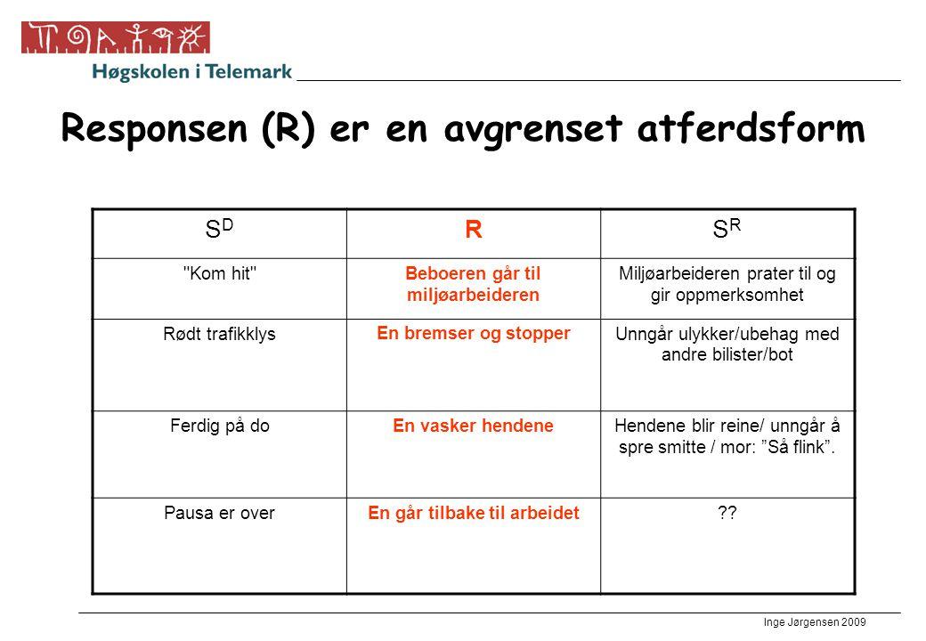Inge Jørgensen 2009 Responsen (R) er en avgrenset atferdsform SDSD RSRSR