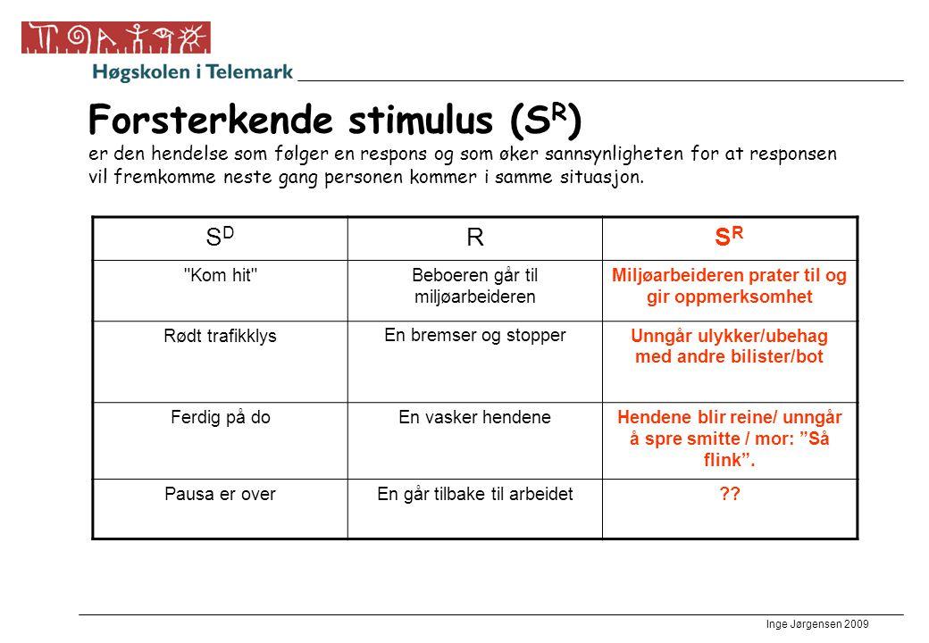 Inge Jørgensen 2009 Forsterkende stimulus (S R ) er den hendelse som følger en respons og som øker sannsynligheten for at responsen vil fremkomme nest