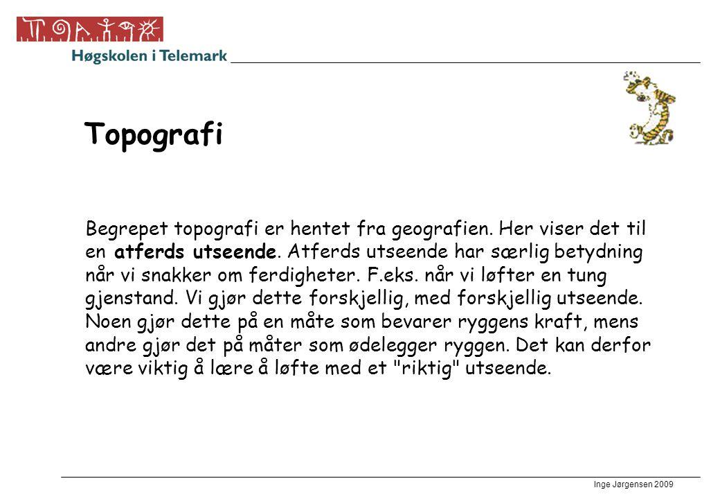 Inge Jørgensen 2009 Topografi Begrepet topografi er hentet fra geografien. Her viser det til en atferds utseende. Atferds utseende har særlig betydnin