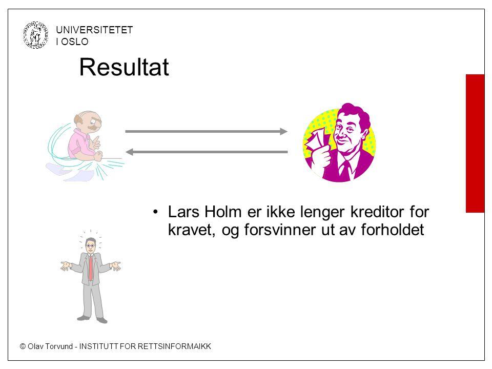 © Olav Torvund - INSTITUTT FOR RETTSINFORMAIKK UNIVERSITETET I OSLO Resultat •Lars Holm er ikke lenger kreditor for kravet, og forsvinner ut av forholdet
