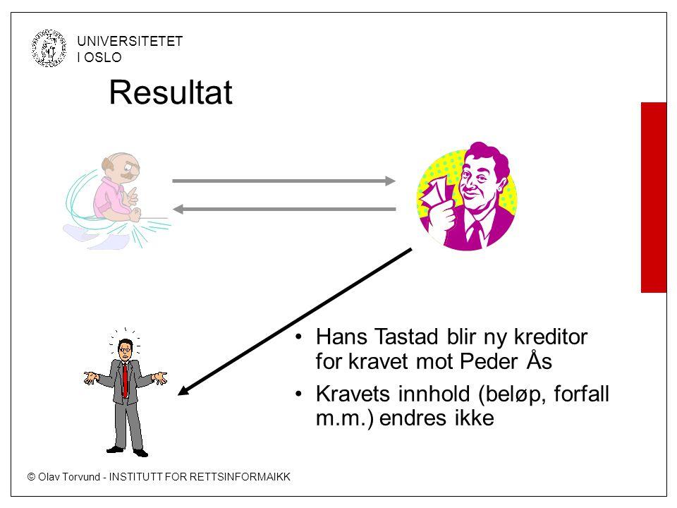© Olav Torvund - INSTITUTT FOR RETTSINFORMAIKK UNIVERSITETET I OSLO Resultat •Hans Tastad blir ny kreditor for kravet mot Peder Ås •Kravets innhold (beløp, forfall m.m.) endres ikke