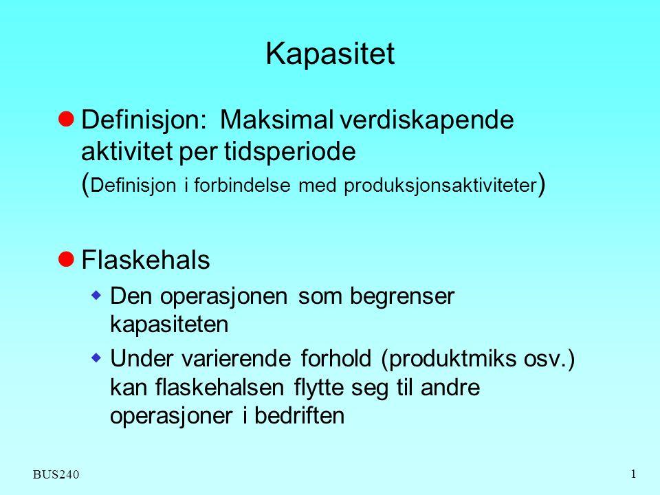 BUS240 1 Kapasitet  Definisjon: Maksimal verdiskapende aktivitet per tidsperiode ( Definisjon i forbindelse med produksjonsaktiviteter )  Flaskehals