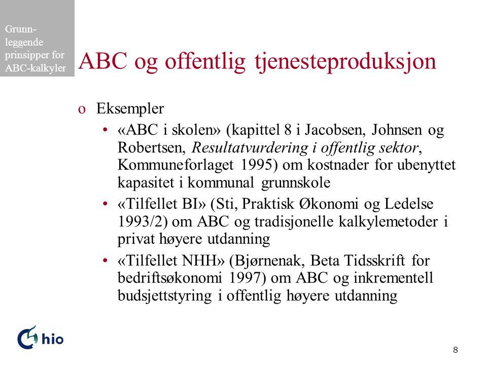 Grunn- leggende prinsipper for ABC-kalkyler 8 ABC og offentlig tjenesteproduksjon oEksempler •«ABC i skolen» (kapittel 8 i Jacobsen, Johnsen og Robert