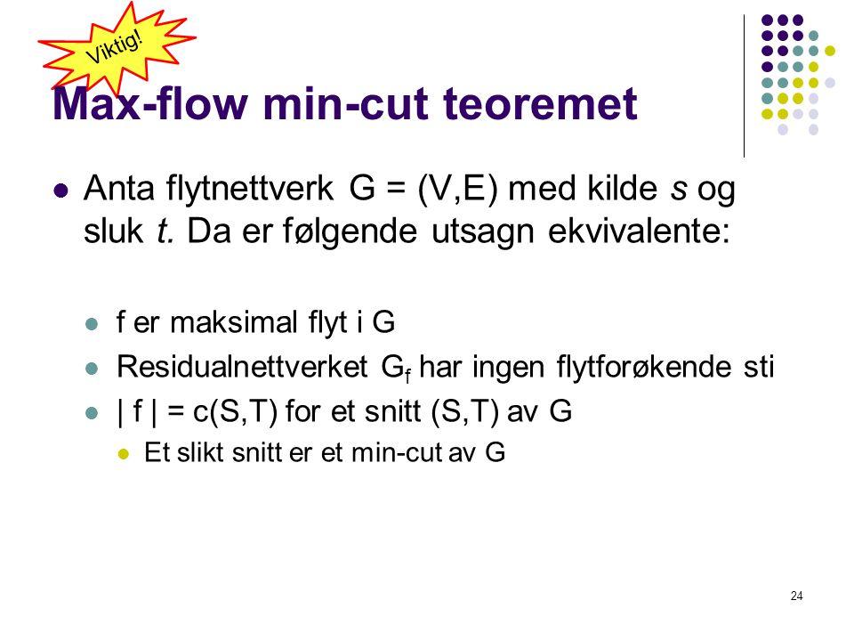 Max-flow min-cut teoremet  Anta flytnettverk G = (V,E) med kilde s og sluk t. Da er følgende utsagn ekvivalente:  f er maksimal flyt i G  Residualn