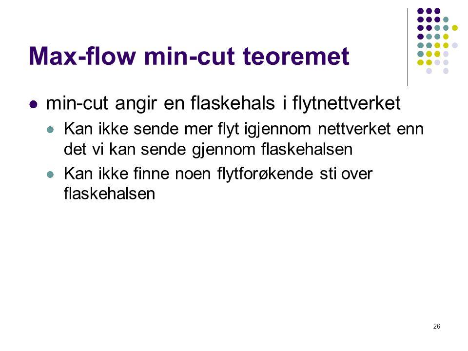 Max-flow min-cut teoremet  min-cut angir en flaskehals i flytnettverket  Kan ikke sende mer flyt igjennom nettverket enn det vi kan sende gjennom fl