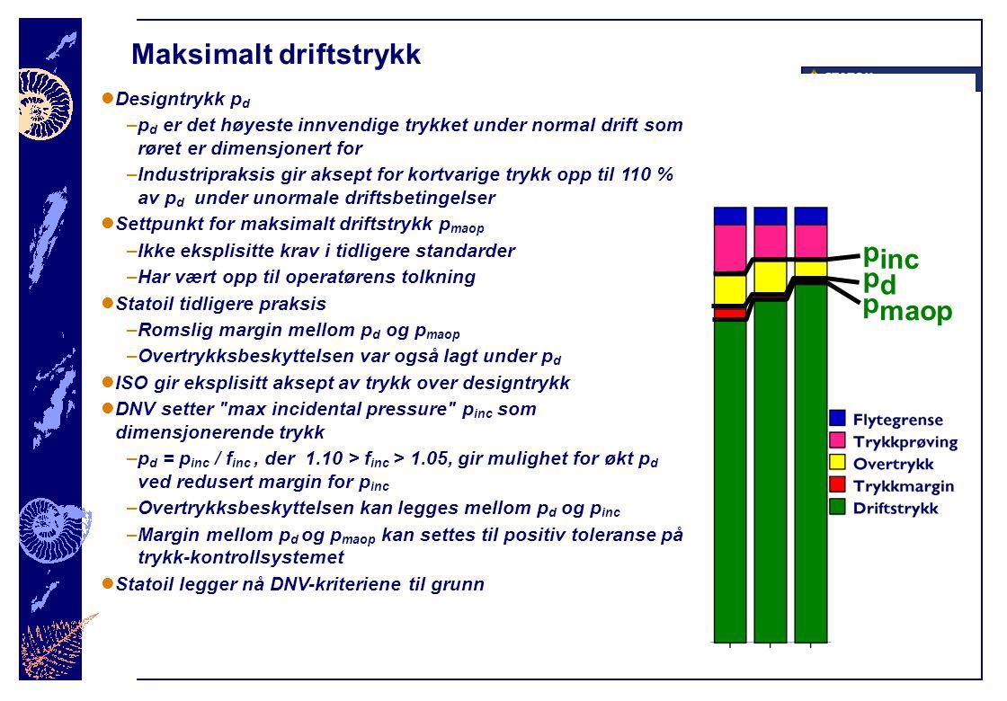 Maksimalt driftstrykk  Designtrykk p d –p d er det høyeste innvendige trykket under normal drift som røret er dimensjonert for –Industripraksis gir a