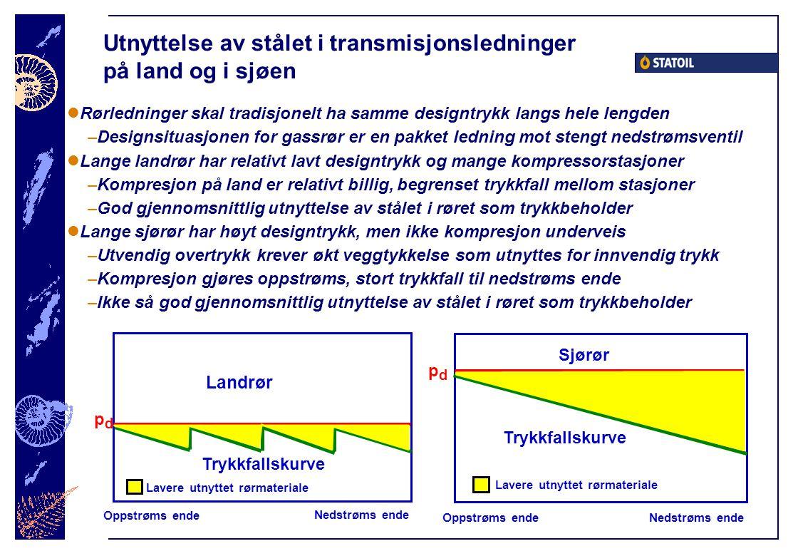 Utnyttelse av stålet i transmisjonsledninger på land og i sjøen  Rørledninger skal tradisjonelt ha samme designtrykk langs hele lengden –Designsituas