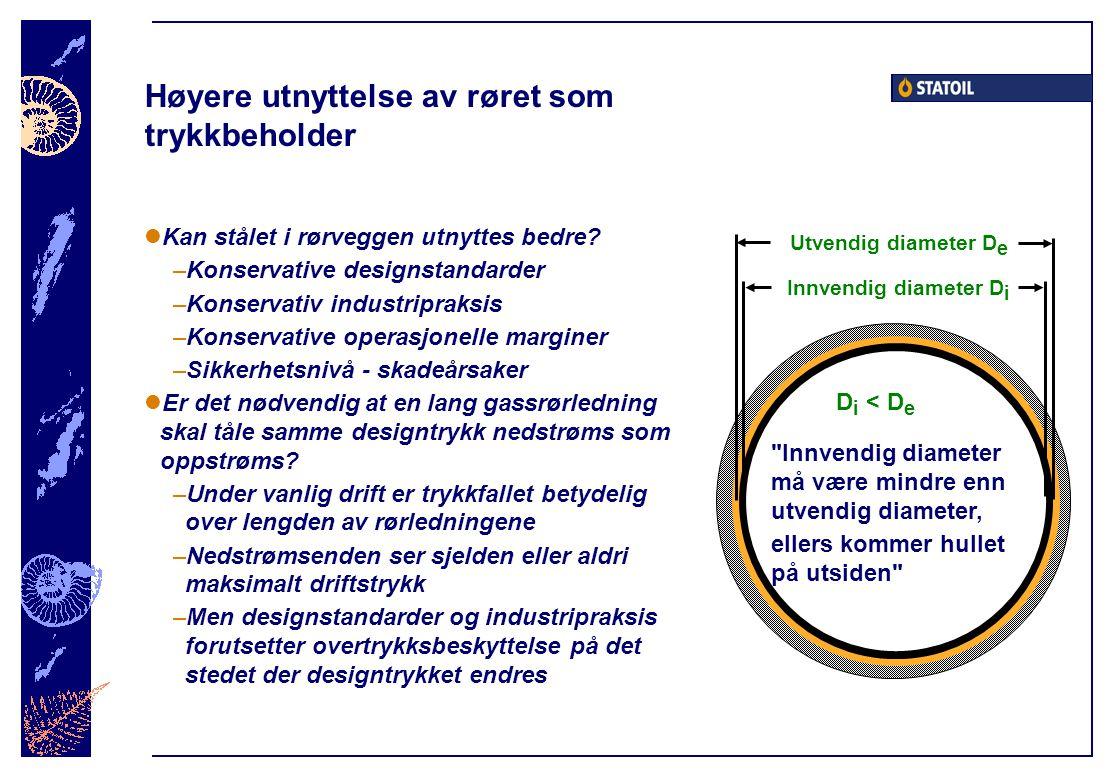 Høyere utnyttelse av røret som trykkbeholder  Kan stålet i rørveggen utnyttes bedre? –Konservative designstandarder –Konservativ industripraksis –Kon