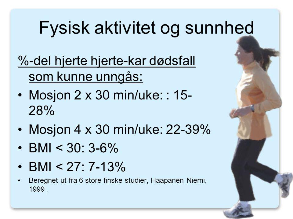 Fysisk aktivitet og sunnhed %-del hjerte hjerte-kar dødsfall som kunne unngås: •Mosjon 2 x 30 min/uke: : 15- 28% •Mosjon 4 x 30 min/uke: 22-39% •BMI < 30: 3-6% •BMI < 27: 7-13% •Beregnet ut fra 6 store finske studier, Haapanen Niemi, 1999,