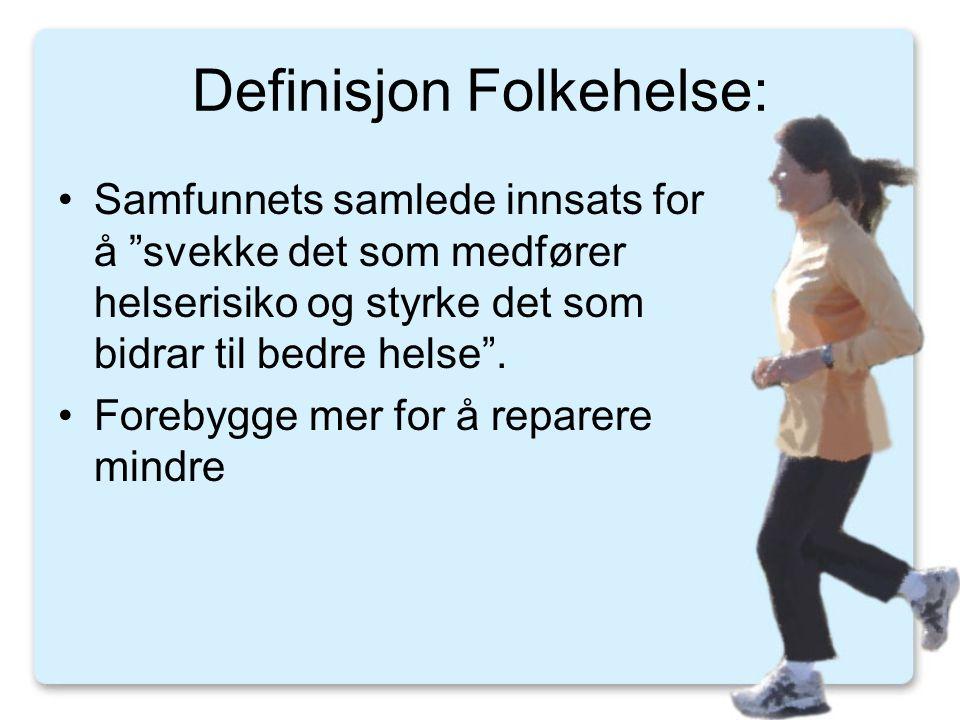 Definisjon Folkehelse: •Samfunnets samlede innsats for å svekke det som medfører helserisiko og styrke det som bidrar til bedre helse .