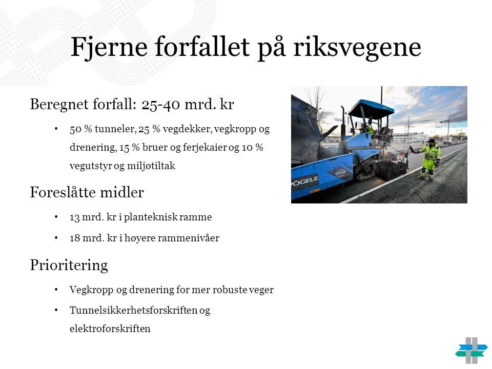 Fjerne forfallet på riksvegene Beregnet forfall: 25-40 mrd. kr • 50 % tunneler, 25 % vegdekker, vegkropp og drenering, 15 % bruer og ferjekaier og 10