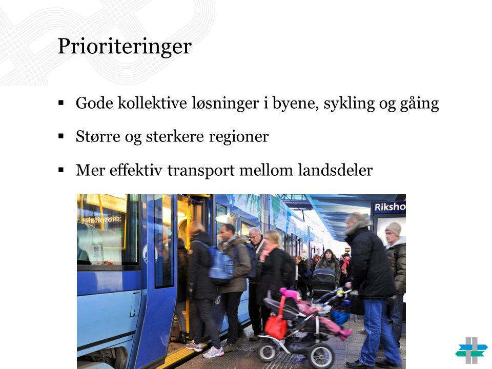 Prioriteringer  Gode kollektive løsninger i byene, sykling og gåing  Større og sterkere regioner  Mer effektiv transport mellom landsdeler