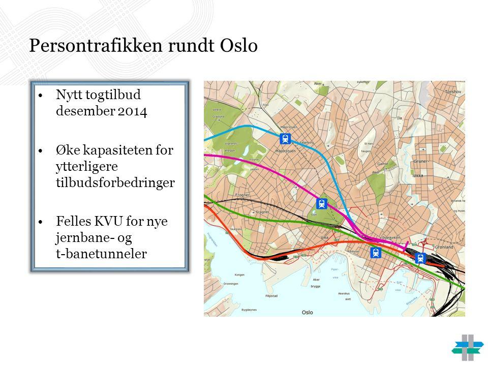 Persontrafikken rundt Oslo •Nytt togtilbud desember 2014 •Øke kapasiteten for ytterligere tilbudsforbedringer •Felles KVU for nye jernbane- og t-banet