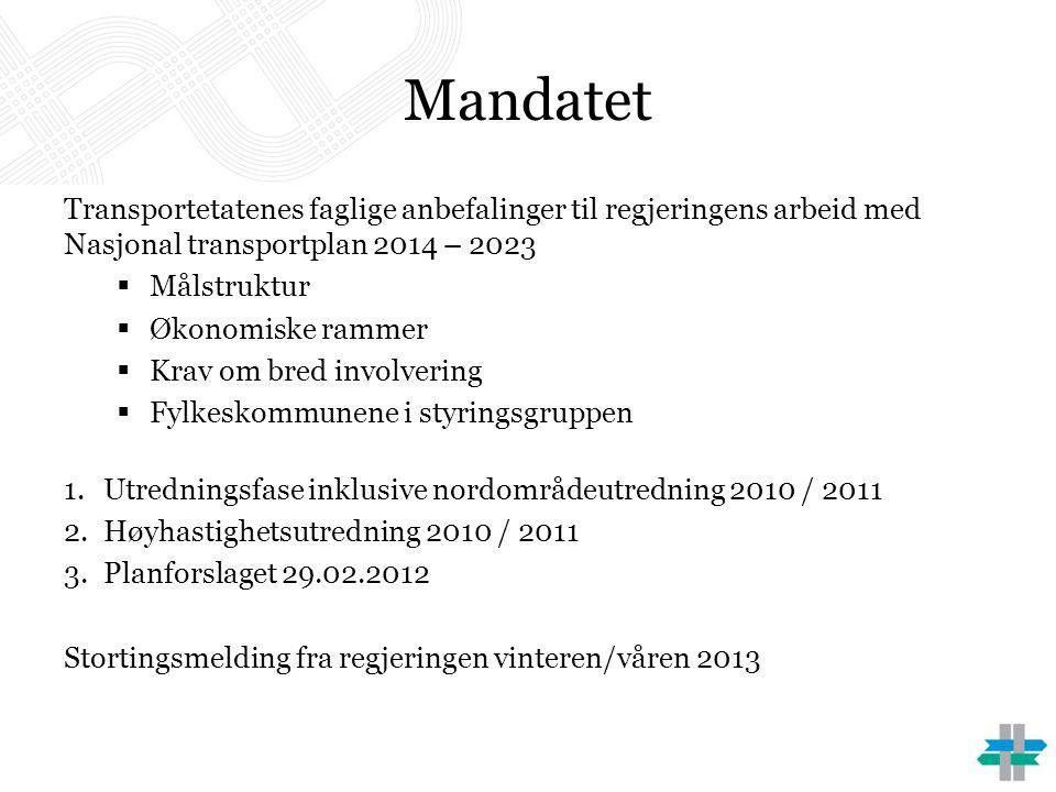 Mandatet Transportetatenes faglige anbefalinger til regjeringens arbeid med Nasjonal transportplan 2014 – 2023  Målstruktur  Økonomiske rammer  Kra