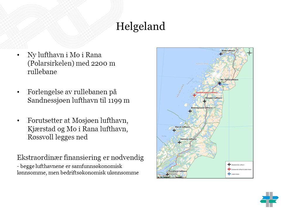 Helgeland • Ny lufthavn i Mo i Rana (Polarsirkelen) med 2200 m rullebane • Forlengelse av rullebanen på Sandnessjøen lufthavn til 1199 m • Forutsetter