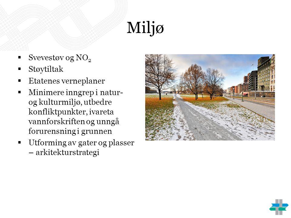 Miljø  Svevestøv og NO 2  Støytiltak  Etatenes verneplaner  Minimere inngrep i natur- og kulturmiljø, utbedre konfliktpunkter, ivareta vannforskri