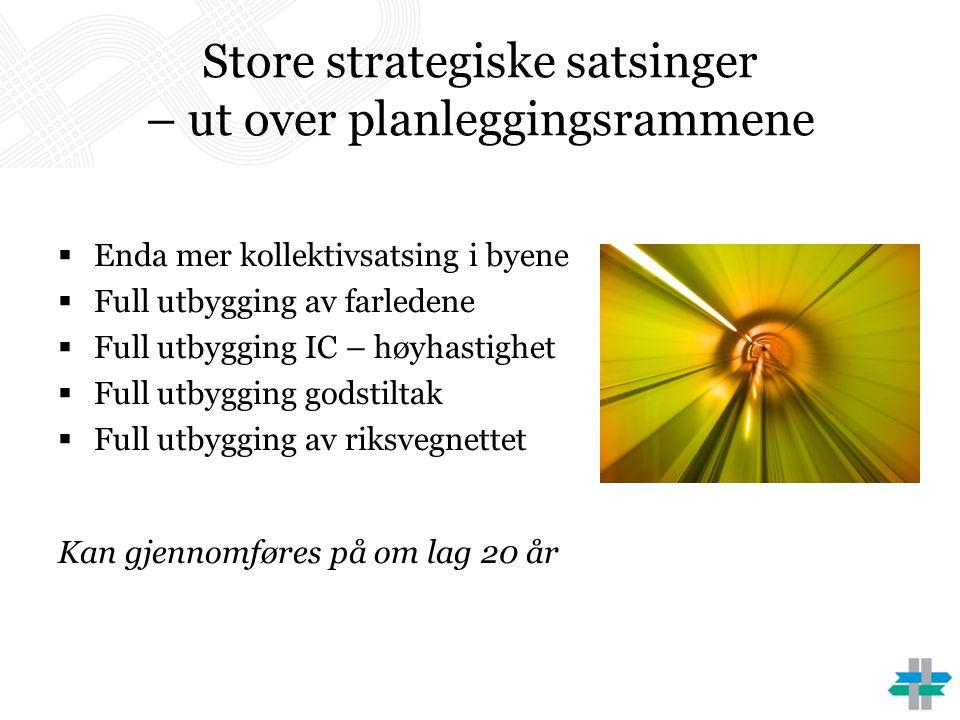 Store strategiske satsinger – ut over planleggingsrammene  Enda mer kollektivsatsing i byene  Full utbygging av farledene  Full utbygging IC – høyh