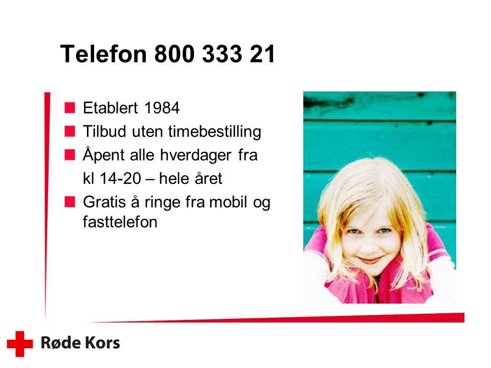 Telefon 800 333 21 Etablert 1984 Tilbud uten timebestilling Åpent alle hverdager fra kl 14-20 – hele året Gratis å ringe fra mobil og fasttelefon