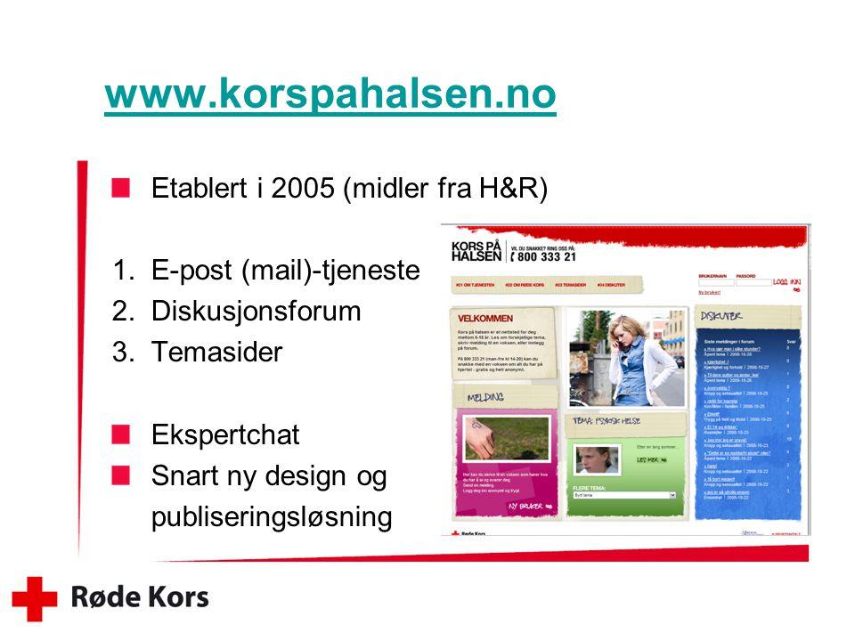 www.korspahalsen.no Etablert i 2005 (midler fra H&R) 1.E-post (mail)-tjeneste 2.Diskusjonsforum 3.Temasider Ekspertchat Snart ny design og publiseringsløsning