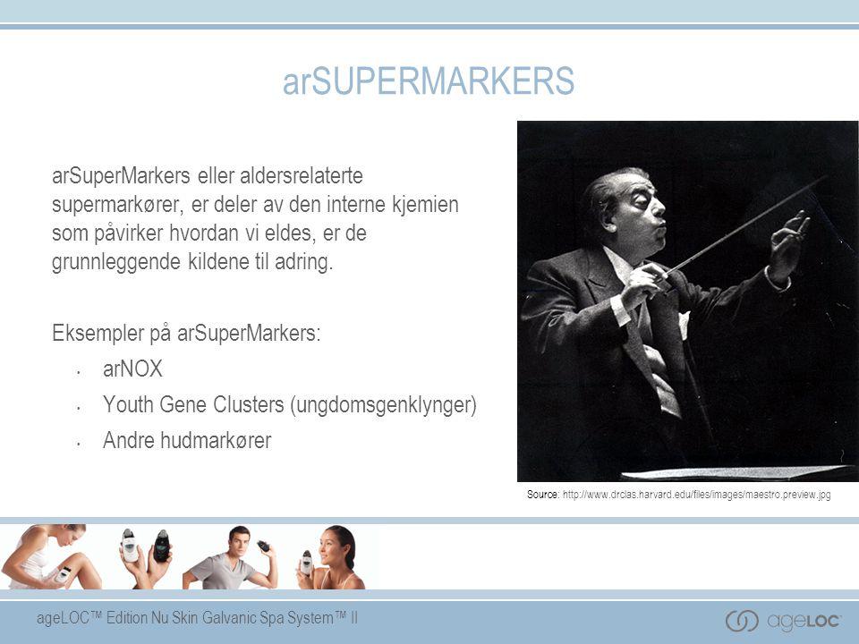 ageLOC™ Edition Nu Skin Galvanic Spa System™ II arSUPERMARKERS arSuperMarkers eller aldersrelaterte supermarkører, er deler av den interne kjemien som